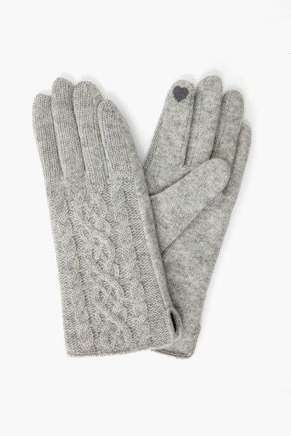 Grey Half Knitted Cable Tech Gloves