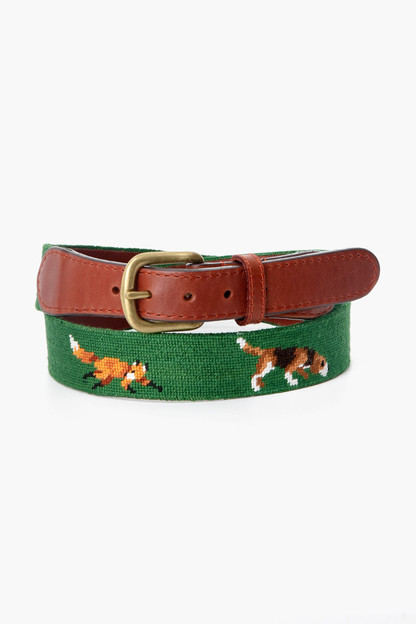 dark forest fox and hound needlepoint belt