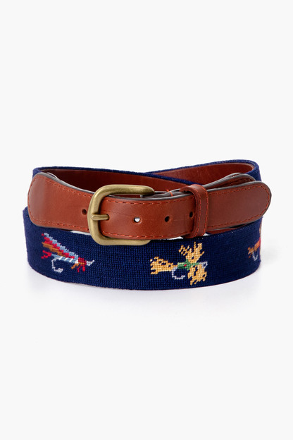 Dark Navy Fishing Flies Needlepoint Belt