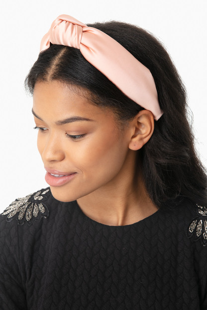 peach silk knotted headband