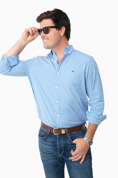 hull blue arawak gingham classic tucker shirt