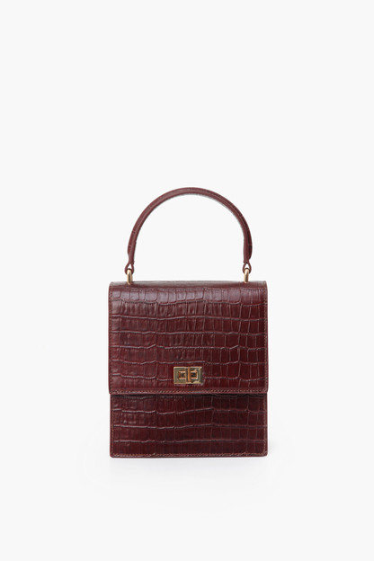 chocolate brown mini lady bag croc embossed