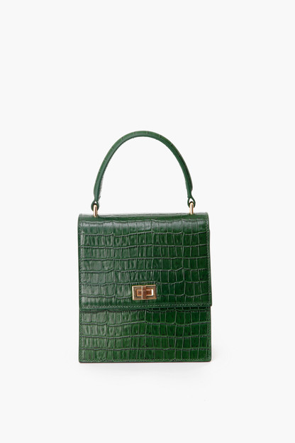 forest green mini lady bag croc embossed