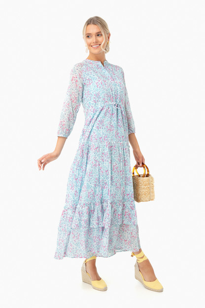 White Blue Clover Field Bazaar Dress
