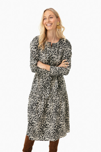 long sleeve dot print dress