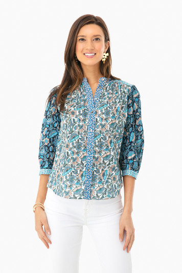 long sleeve mix print top