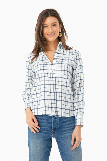 long sleeve brushed check top