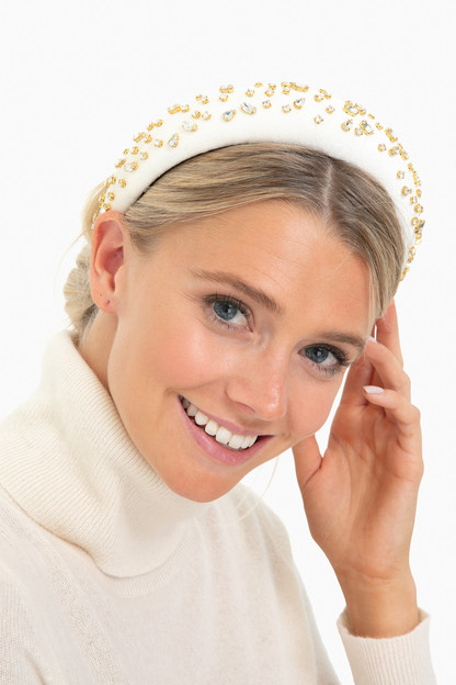 ivory mixed crystal padded headband
