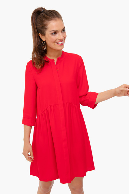 Red Silk Royal Shirt Dress