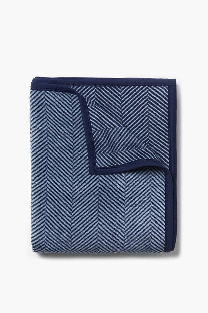 harborview herringbone navy blanket