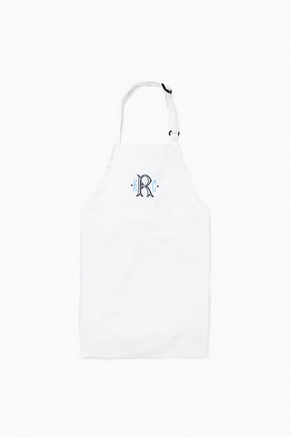 white monogram chef's apron