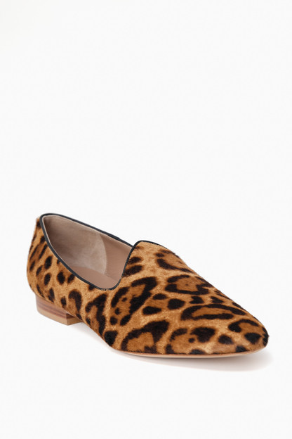 leopard calf hair venetian slipper