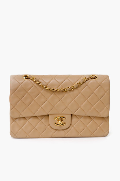 chanel beige lambskin 2.55 10 inch bag