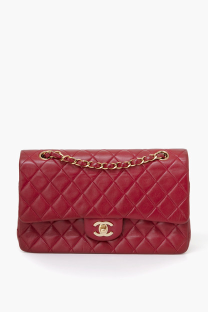 Chanel Red Lambskin 2.55 10 inch Bag