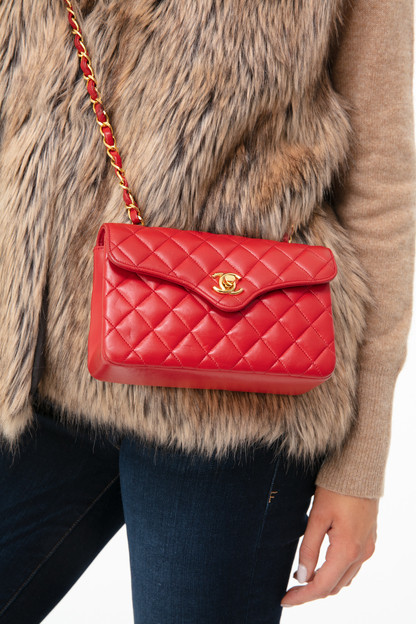 chanel red lambskin curved flap mini bag