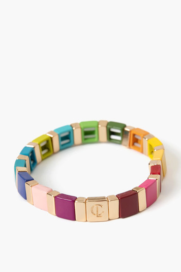 square rainbow tile bracelet