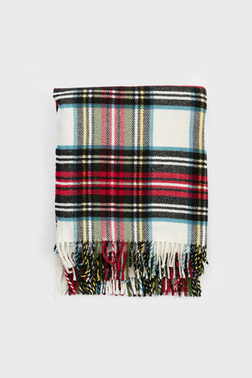 cream classic tartan plaid throw