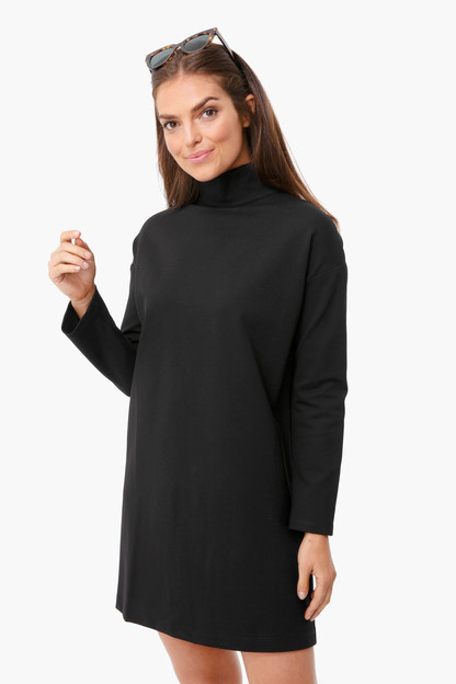 black ponte edie turtleneck dress