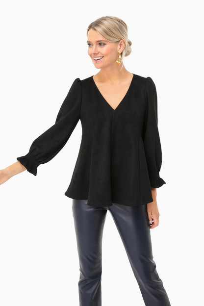 black suede easton blouse