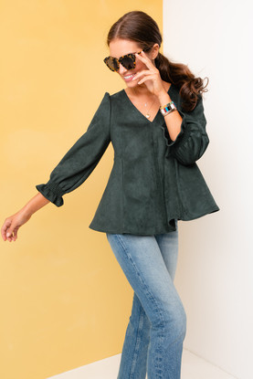 malachite suede easton blouse
