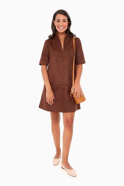 dark brown suede stand collar clifton dress