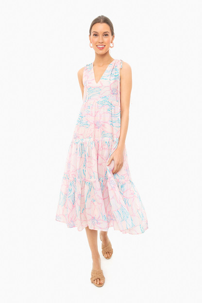 peach floral colony dress