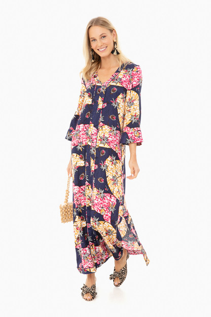 navy multi kelly kaftan