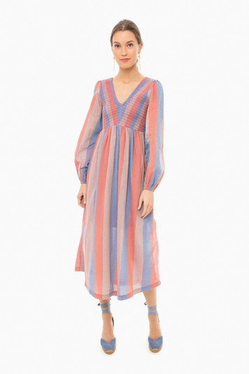 orange stripe long joanna dress