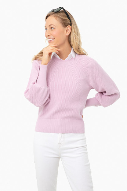 wild flower heather ribbed button cuff crewneck