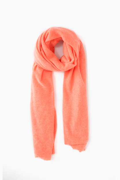 Neon Coral Cashmere Travel Wrap