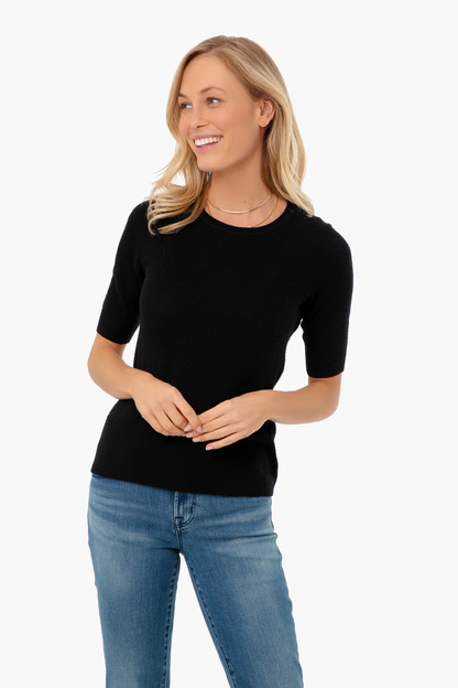 black essential cashmere tee