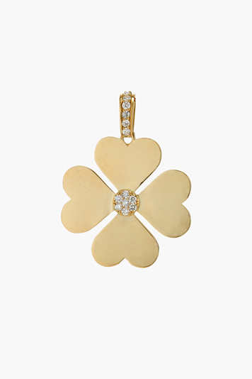 small diamond heart pendant clover