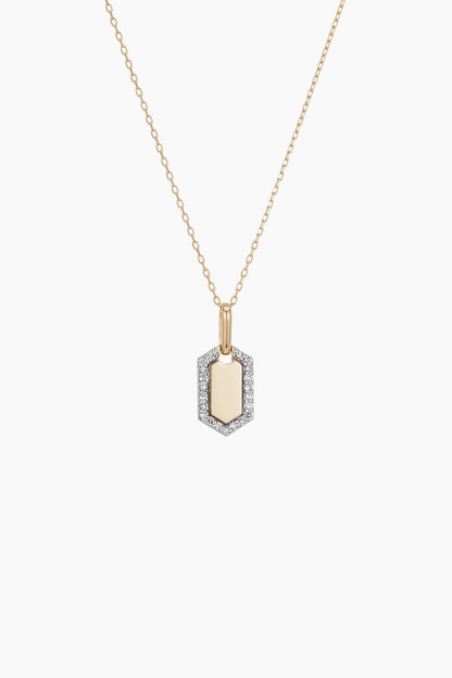 tiny pave hexagon dog tag necklace