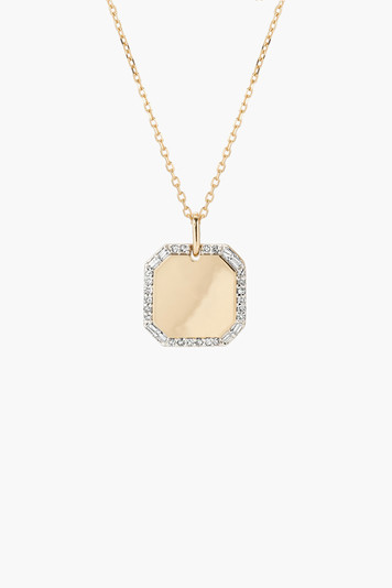 square pave and baguette dog tag necklace