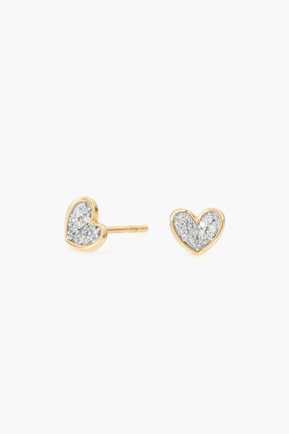 super tiny pave folded heart post earrings