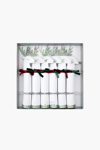 white reindeer medium crackers (set of 6)