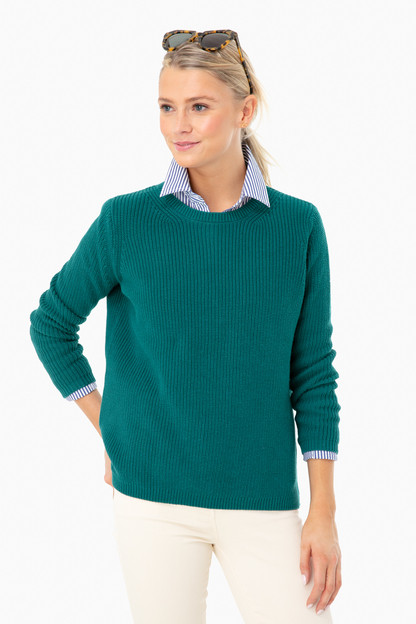 deep teal emma shaker sweater