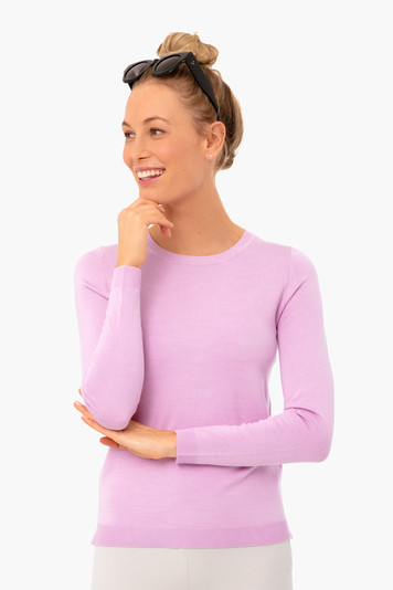 electric lilac carolina crewneck sweater