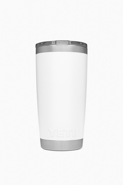 white rambler 20oz tumbler with lid