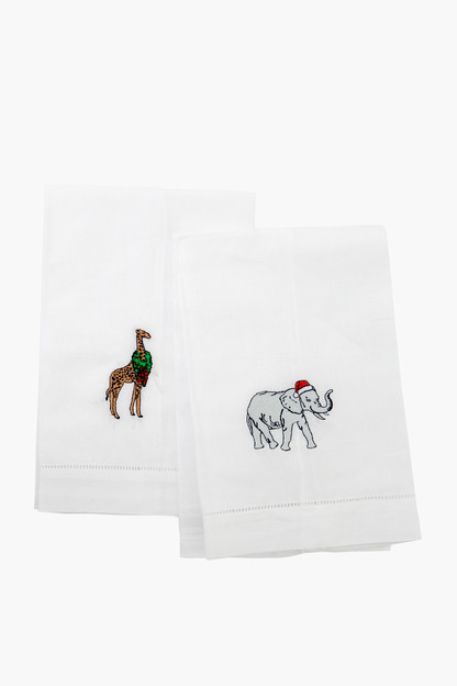 elephant & giraffe guest towels (set of 2)