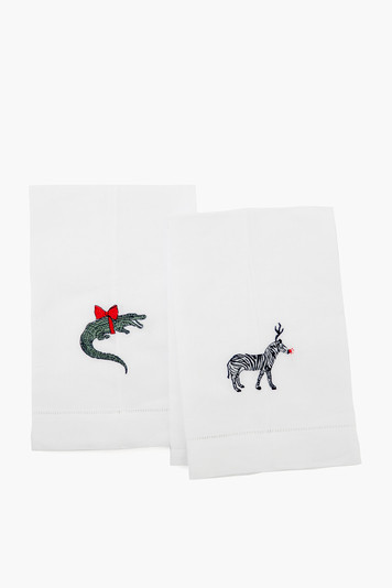 zebra & crocodile guest towels (set of 2)