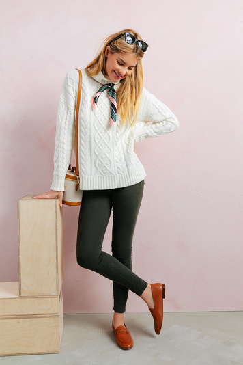ivory fitzgerald cableknit sweater