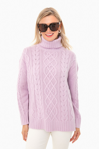 lilac fitzgerald cableknit sweater