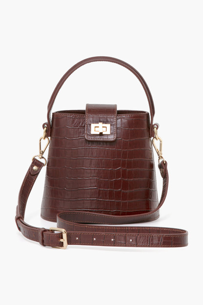 Brown Croc Embossed Kettle Bag