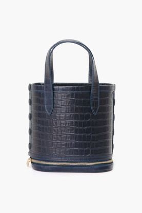 navy croc embossed packable bucket bag