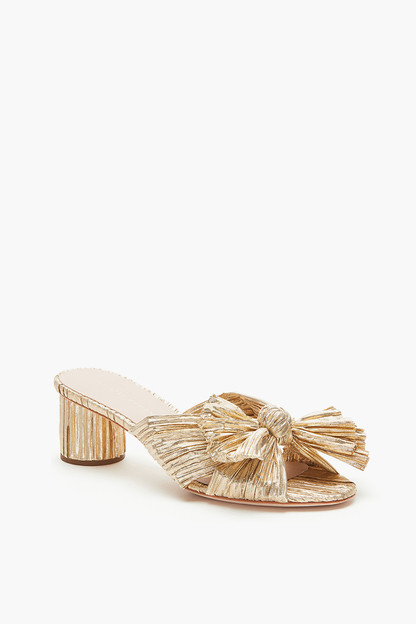gold emilia pleated knot mules