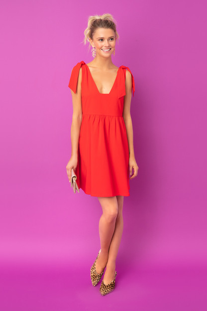 red knot tie sleeveless dress