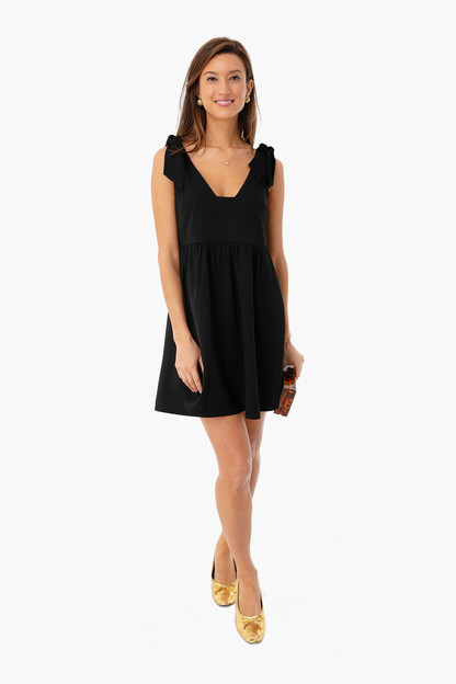 black knot tie sleeveless dress