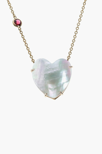 mother of pearl heart 10k gold necklace