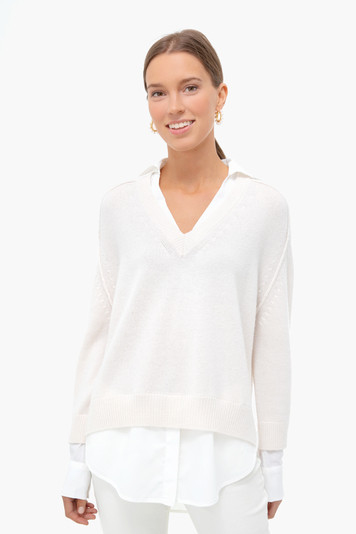 almond v-neck layered pullover